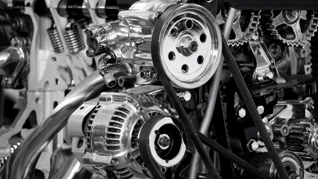 greyscale photography of car engine 190574